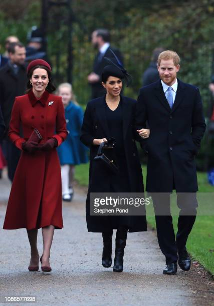 Catherine, Duchess of Cambridge, Meghan, Duchess of Sussex and Prince Harry, Duke of Sussex arrive to attend Christmas Day Church service at Church...