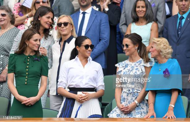 Catherine Duchess of Cambridge Meghan Duchess of Sussex Pippa Middleton and Gill Brook in the Royal Box on Centre Court during day twelve of the...