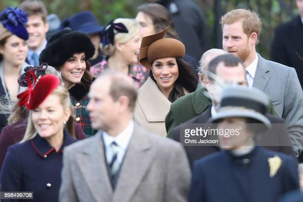 Catherine Duchess of Cambridge Meghan Markle and Prince Harry attend Christmas Day Church service at Church of St Mary Magdalene on December 25 2017...