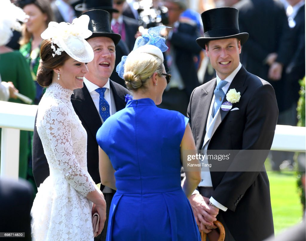 Catherine, Duchess of Cambridge, Mike Tindall, Zara Phillips and Prince William, Duke of Cambridge attend Royal Ascot 2017 at Ascot Racecourse on June 20, 2017 in Ascot, England.