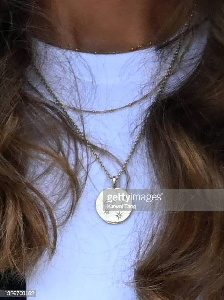 Catherine, Duchess of Cambridge, necklace detail, attends the Wimbledon Tennis Championships at the All England Lawn Tennis and Croquet Club on July...