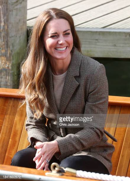 """Catherine, Duchess of Cambridge on a boat trip on Lake Windermere speaking with two of the """"Windermere Children"""", a group of 300 child Holocaust..."""