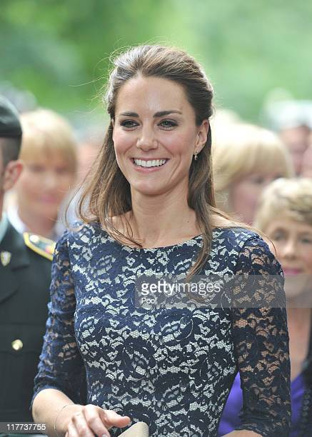 Catherine Duchess of Cambridge on a walkabout outside the official residence of the Governor General of Canada Rideau Hall on June 30 2011 in Ottawa...