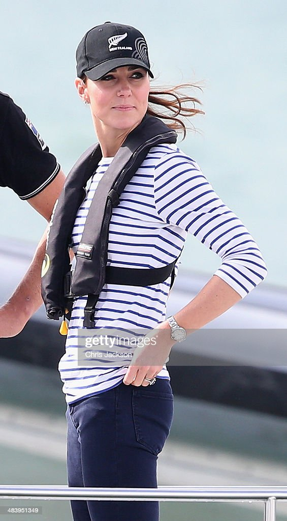 Catherine, Duchess of Cambridge on board an America's Cup yacht as she races Prince William, Duke of Cambridge in Auckland Harbour on April 11, 2014 in Auckland, New Zealand. The Duke and Duchess of Cambridge are on a three-week tour of Australia and New Zealand, the first official trip overseas with their son, Prince George of Cambridge.