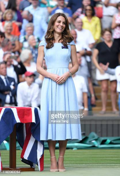 Catherine Duchess of Cambridge on Centre court during Men's Finals Day of the Wimbledon Tennis Championships at All England Lawn Tennis and Croquet...