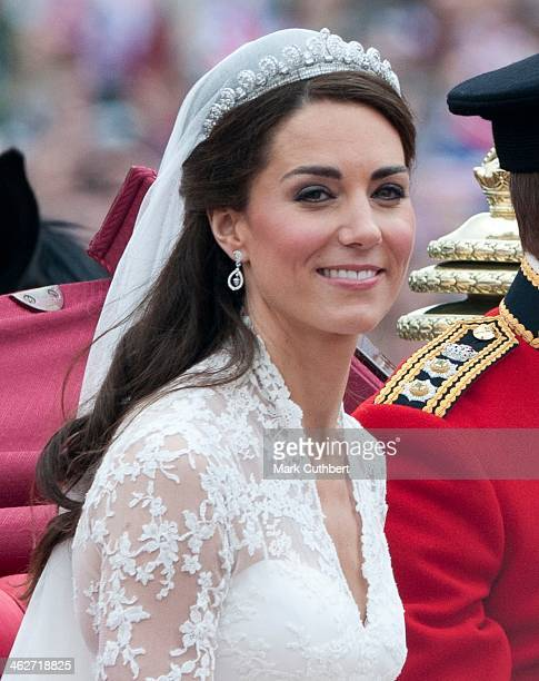 Catherine Duchess of Cambridge on her way to Buckingham Palace after her wedding at Westminster Abbey on April 29 2011 in London England
