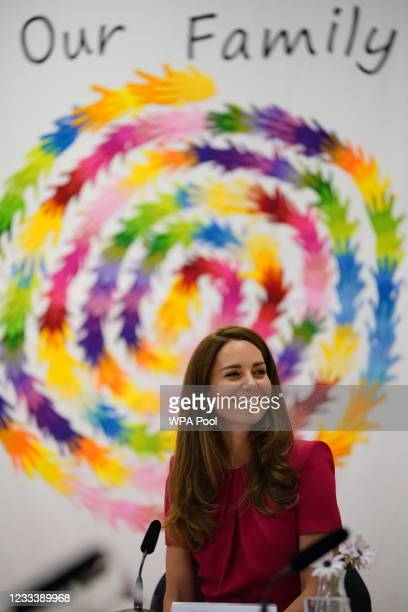 Catherine, Duchess of Cambridge participating in a roundtable discussion with a number of representatives from the early years sector who have been...