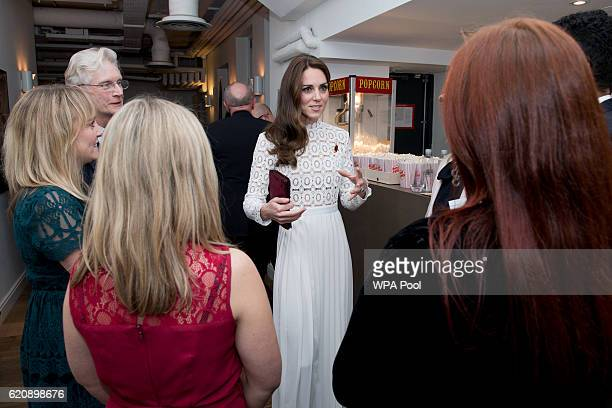 Catherine, Duchess of Cambridge, Patron of Action on Addiction, meets with stars, cast and crew, and representatives from her charity at the Working...