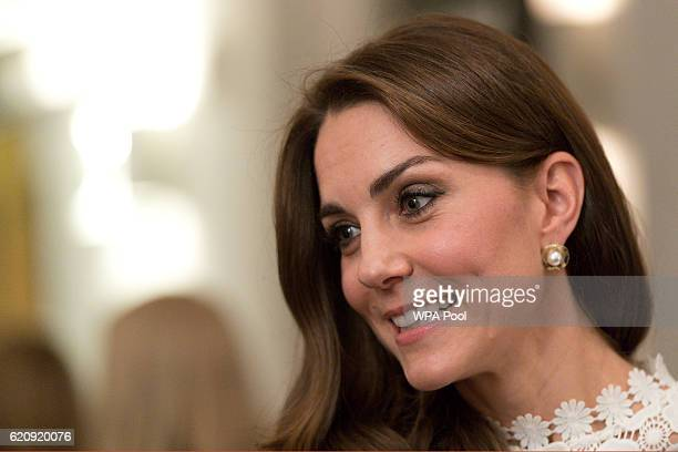 Catherine Duchess of Cambridge Patron of Action on Addiction meets with stars cast and crew and representatives from her charity at the Working...