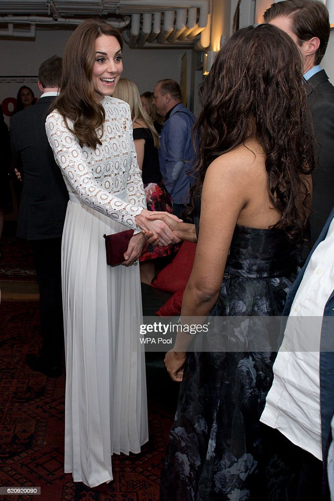 Catherine, Duchess of Cambridge, Patron of Action on Addiction, meets with stars, cast and crew, and representatives from her charity at the Working Titles office where she sees highlights of the Recovery Street Film Festival on November 3, 2016 in London, United Kingdom.