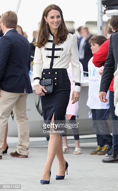 Catherine, Duchess of Cambridge, patron of the 1851 Trust, arrives at Land Rover BAR on May 20, 2016 in Portsmouth, England. The Duchess of Cambridge...