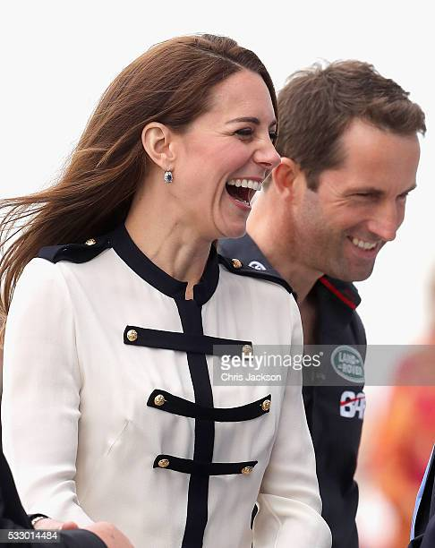 Catherine Duchess of Cambridge patron of the 1851 Trust chats with Sir Ben Ainslie as she arrives at Land Rover BAR on May 20 2016 in Portsmouth...
