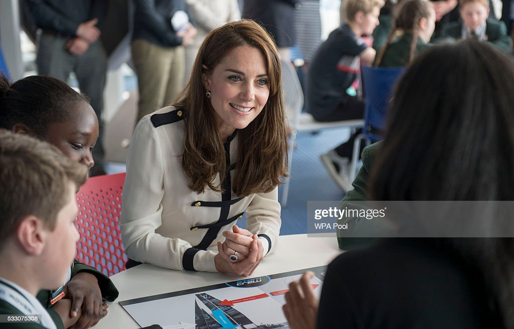 Catherine, Duchess of Cambridge, patron of the 1851 Trust, joins local school students as she tours the new 'Tech Deck' Education Centre during her visit to the Land Rover BAR team, who are challenging for the 2017 America's Cup, on May 20, 2016 in Portsmouth, England. The Duchess of Cambridge is launching the 1851 Trust's two sailing projects and meeting people involved in the project. Afterwards she will open the 'Tech Deck' Education Centre at the heart of the base.