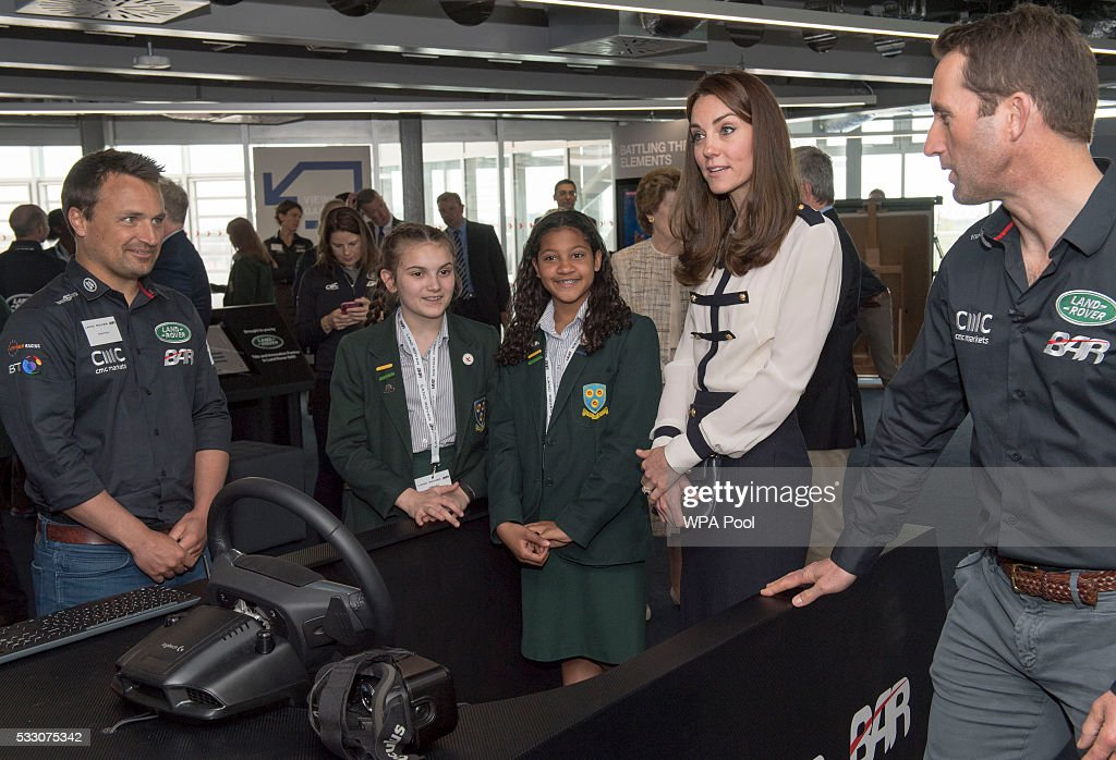 The Duchess of Cambridge Visits Land Rover BAR And The 1851 Trust : News Photo