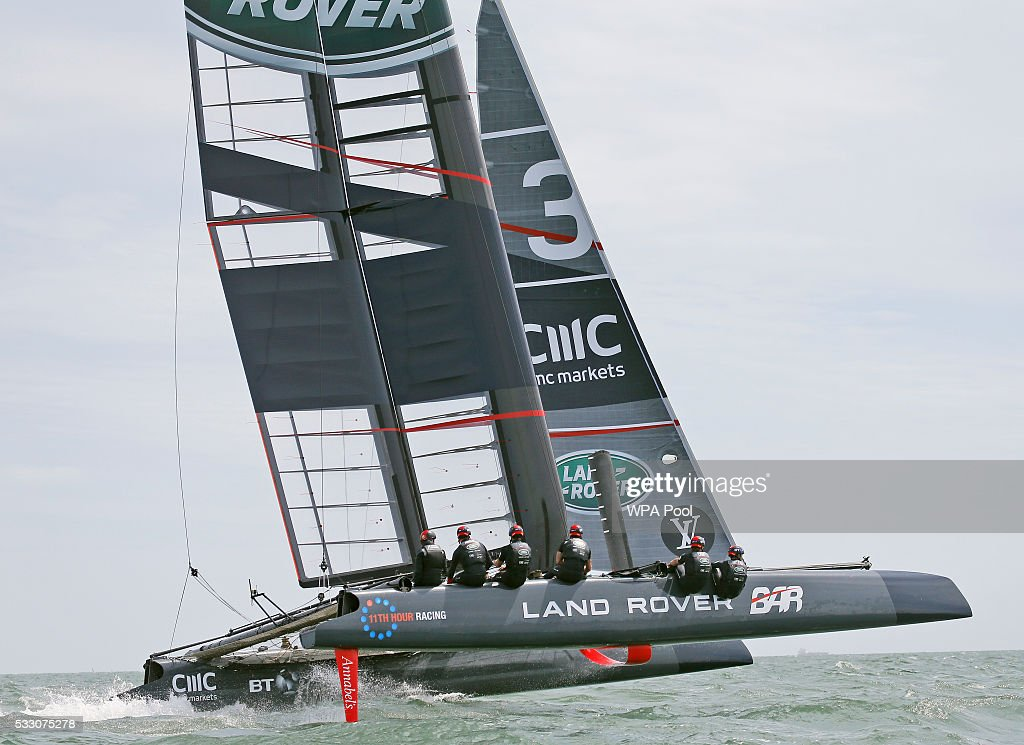 Catherine, Duchess of Cambridge, patron of the 1851 Trust, left, joins the Land Rover BAR team, who are challenging for the 2017 America's Cup, on board their training boat as they run a training circuit on the Solent on May 20, 2016 in Portsmouth, England. The Duchess of Cambridge is launching the 1851 Trust's two sailing projects and meeting people involved in the project. Afterwards she will open the 'Tech Deck' Education Centre at the heart of the base.