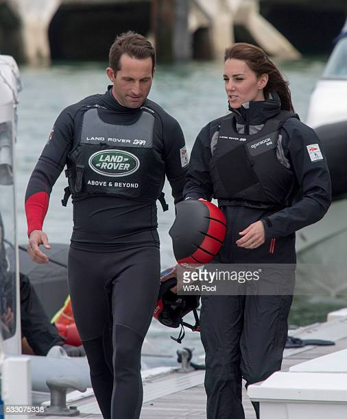 Catherine Duchess of Cambridge patron of the 1851 Trust talks with Sir Ben Ainslie as she visits the Land Rover BAR team who are challenging for the...
