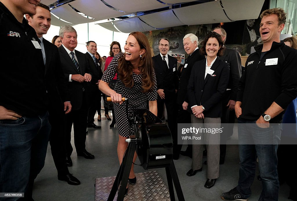 Catherine, Duchess of Cambridge, patron of the 1851 Trust, tries a sailing winch simulator as part of a visit to Portsmouth to see the construction site of Ben Ainslie Racing new headquarters and visitor centre at the Spinnaker Tower on February 12, 2015 in Portsmouth, England.