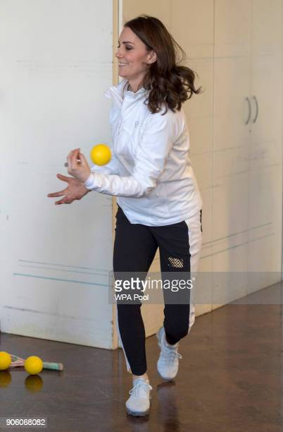 Catherine Duchess of Cambridge Patron of the All England Lawn Tennis and Croquet Club plays a game during a visit to Bond Primary School in Mitcham...