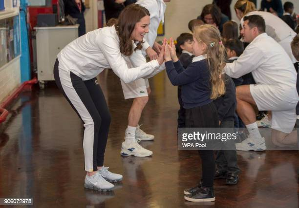 Catherine Duchess of Cambridge Patron of the All England Lawn Tennis and Croquet Club during a visit to Bond Primary School in Mitcham to see the...