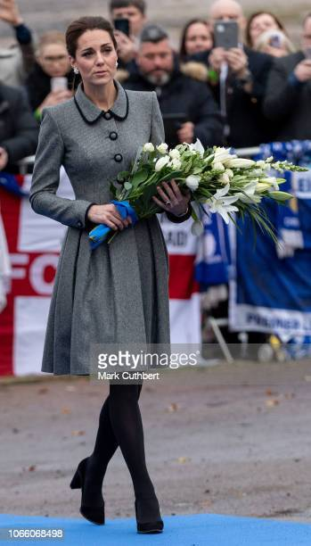 Catherine Duchess of Cambridge pays tribute to those who were tragically killed in the helicopter crash on October 27 at Leicester City Football...