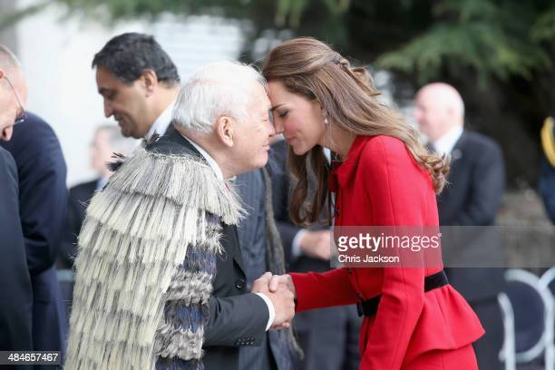 Catherine Duchess of Cambridge performs the traditional Maori greeting of the 'Hongi' as she visits Christchurch City Council Buildings on April 14...