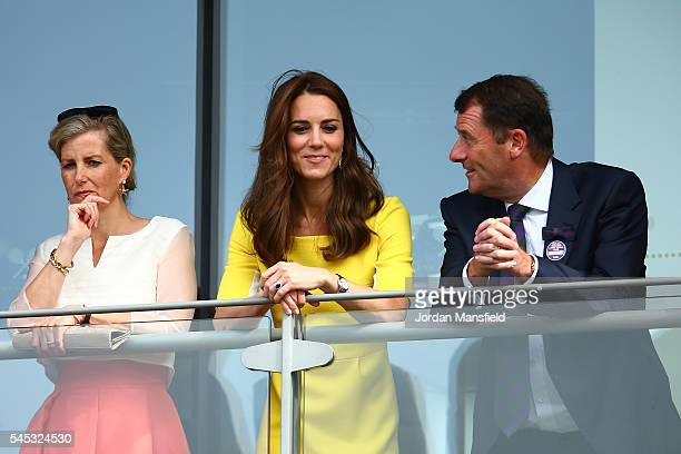Catherine Duchess of Cambridge Phillip Brook and Sophie The Countess of Wessex look over the outdoor courts during the Wheelchair Tennis matches on...