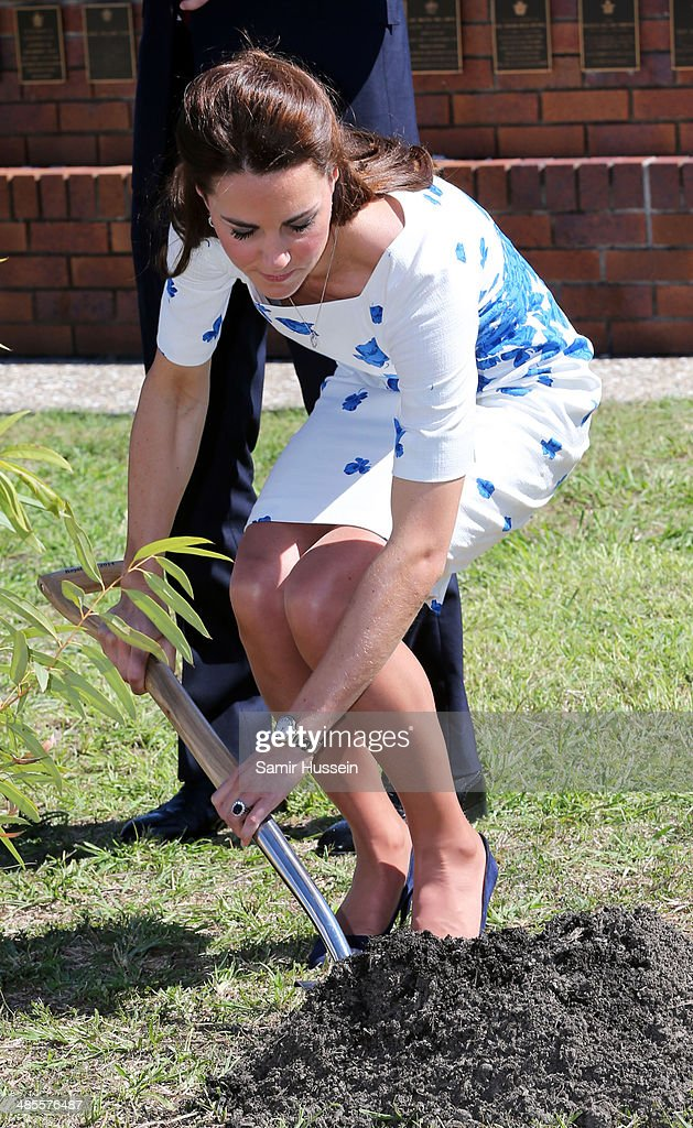 Catherine, Duchess of Cambridge plants a tree as she visits RAAF Amberley on April 19, 2014 in Brisbane, Australia. The Duke and Duchess of Cambridge are on a three-week tour of Australia and New Zealand, the first official trip overseas with their son, Prince George of Cambridge.