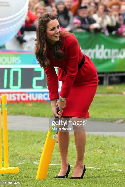 Catherine Duchess of Cambridge plays a game of cricket during a visit to Latimer Square on April 14 2014 in Christchurch New Zealand The Duke and...