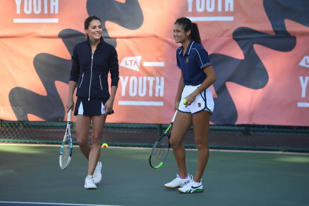 Catherine, Duchess of Cambridge plays a game of tennis with US Open Champion Emma Raducanu at the LTA Centre in Roehampton on September 24, 2021 in...