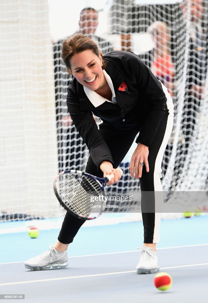 Catherine, Duchess of Cambridge plays a tennis match as she visits the Lawn Tennis Association at National Tennis Centre on October 31, 2017 in London, England. The Duchess of Cambridge became Patron of the LTA in December 2016.