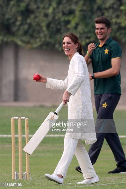 Catherine Duchess of Cambridge plays cricket during her visit at the National Cricket Academy during day four of their royal tour of Pakistan on...