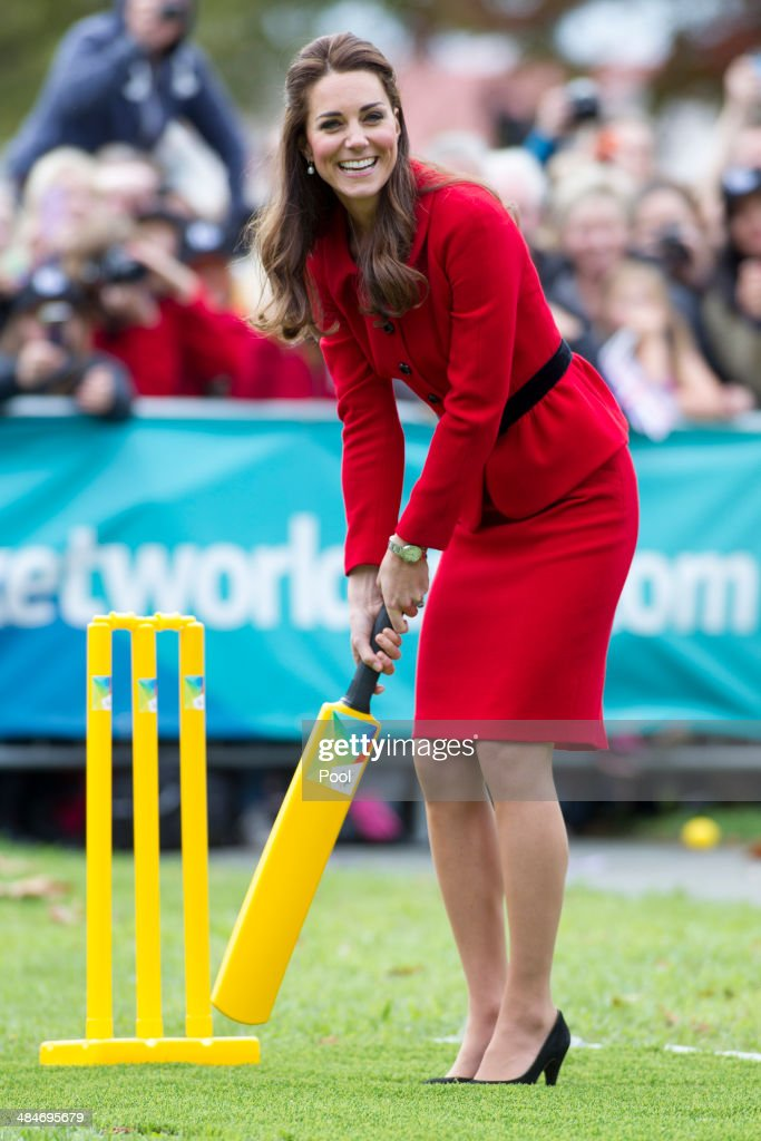 Catherine, Duchess of Cambridge plays cricket in Latimer Square Gardens on April 14, 2014 in Christchurch, New Zealand. The Duke and Duchess of Cambridge are on a three-week tour of Australia and New Zealand, the first official trip overseas with their son, Prince George of Cambridge.