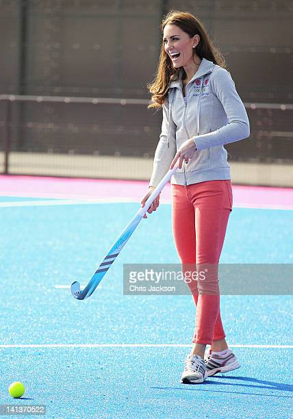 Catherine, Duchess of Cambridge plays hockey with the GB hockey teams at the Riverside Arena in the Olympic Park on March 15, 2012 in London,...