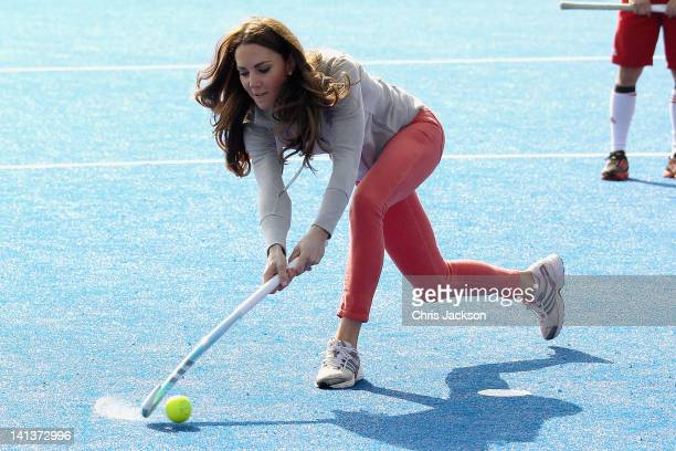 Catherine Duchess of Cambridge plays hockey with the GB hockey teams at the Riverside Arena in the Olympic Park on March 15 2012 in London England...