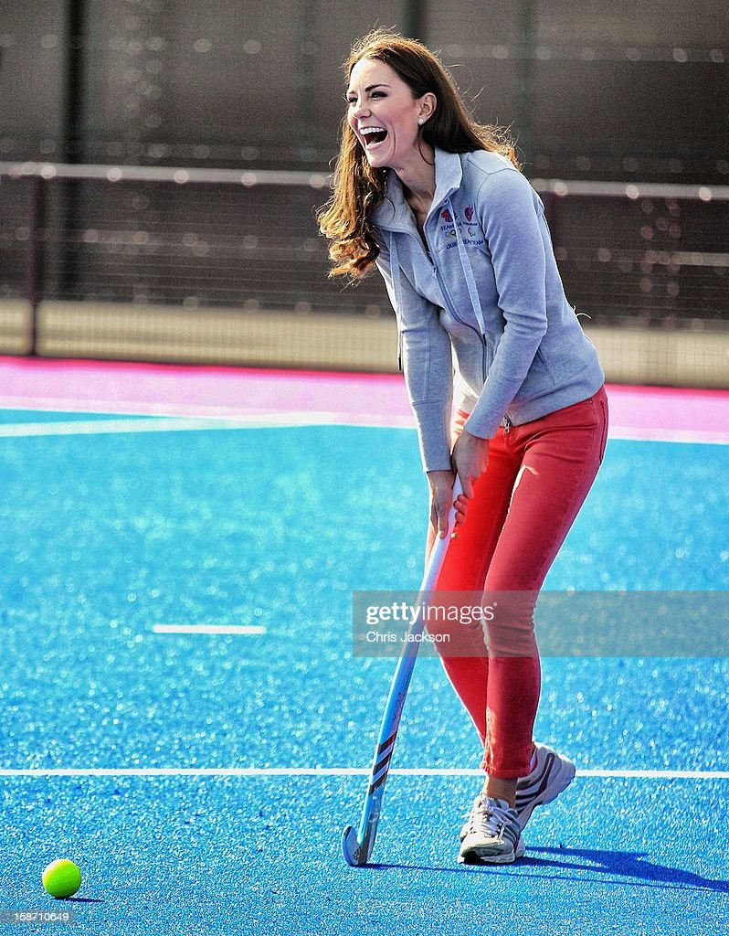 Catherine, Duchess of Cambridge plays hockey with the Women's GB Hockey team at the Riverside Arena in the Olympic Park on March 15, 2012 in London, England. The Duchess of Cambridge viewed the Olympic park as well as meeting members of the men's and women's GB Hockey teams.