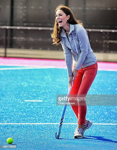 Catherine Duchess of Cambridge plays hockey with the Women's GB Hockey team at the Riverside Arena in the Olympic Park on March 15 2012 in London...