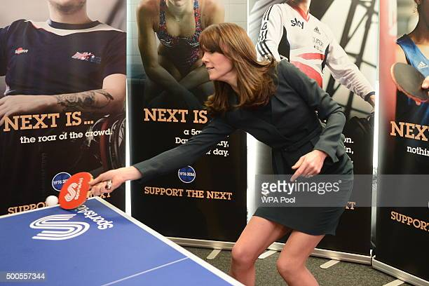 Catherine Duchess of Cambridge plays table tennis as she and Prince William Duke of Cambridge attend the ICAP charity day at ICAP on December 9 2015...