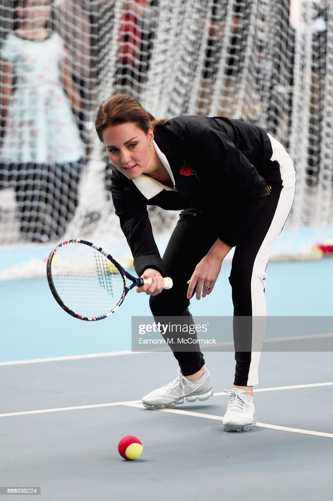 Catherine, Duchess of Cambridge plays tennis as she visits the Lawn Tennis Association at National Tennis Centre on October 31, 2017 in London, England. The Duchess of Cambridge became Patron of the LTA in December 2016.