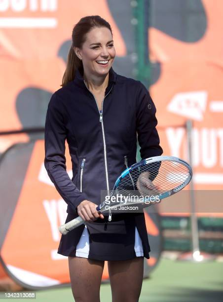 Catherine, Duchess of Cambridge plays tennis with British US Open champion Emma Raducanu as they return to the LTA's National Tennis Centre for The...