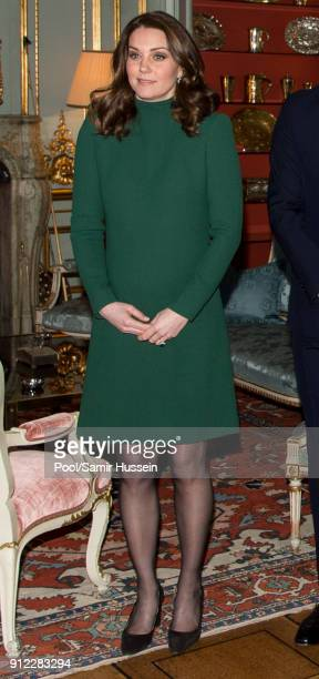 Catherine Duchess of Cambridge poses ahead of a lunch at the Royal Palace of Stockholm during day one of their Royal visit to Sweden on January 30...
