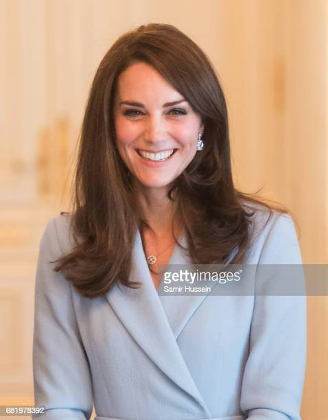 Catherine Duchess of Cambridge poses during a visit to the Grand Ducal Palace where she met with the Luxembourg Royal Family on May 11 2017 in...