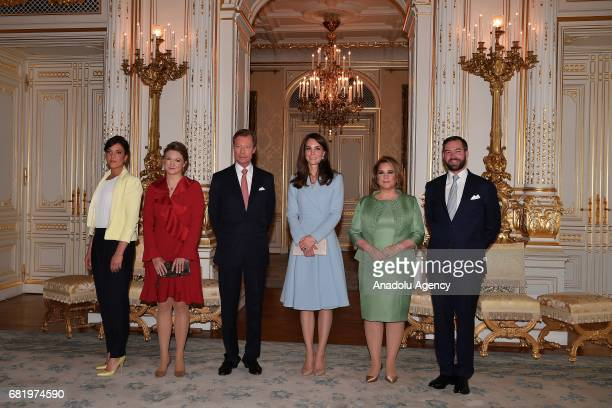 Catherine Duchess of Cambridge poses for a photo with Princess Alexandra of Luxembourg Princess Stephanie of Luxembourg Grand Duke of Luxembourg...