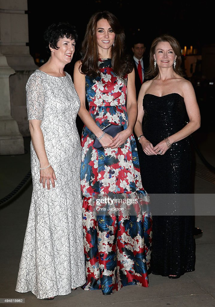 Catherine, Duchess of Cambridge poses with (L) Amanda Pullinger (CEO) and (R) Mimi Drake (Chairwoman) attends the 100 Women In Hedge Funds Gala Dinner In Aid Of The Art Room at the Victoria and Albert Museum on October 27, 2015 in London, England.