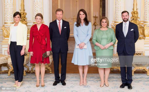 Catherine, Duchess of Cambridge poses with Princess Alexandra of Luxembourg, Princess Stephanie of Luxembourg, Henri, Grand Duke of Luxembourg, Maria...