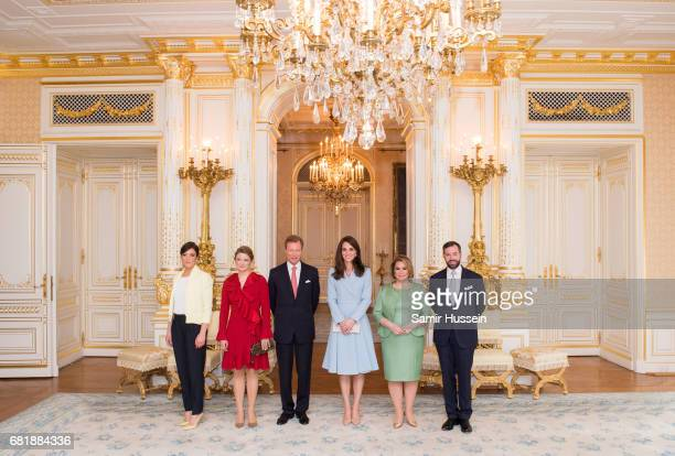 Catherine Duchess of Cambridge poses with Princess Alexandra of Luxembourg Princess Stephanie of Luxembourg Henri Grand Duke of Luxembourg Maria...