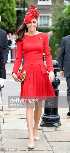 Catherine Duchess of Cambridge prepares to board the royal barge 'Spirit of Chartwell' during the Thames Diamond Jubilee Pageant on June 3 2012 in...