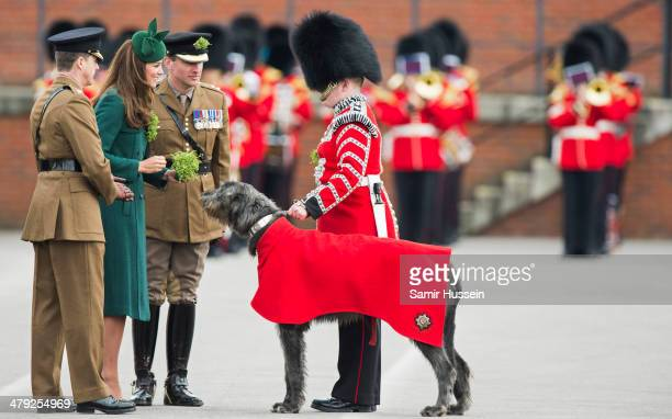 Catherine Duchess of Cambridge presents a shamrock at the St Patrick's Day parade at Mons Barracks on March 17 2014 in Aldershot England