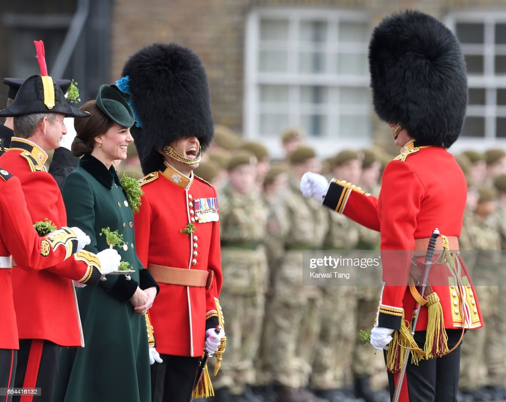 Catherine, Duchess of Cambridge presents the 1st Battalion Irish Guardsmen with shamrocks during the annual Irish Guards St Patrick's Day Parade at Household Cavalry Barracks on March 17, 2017 in London, England.