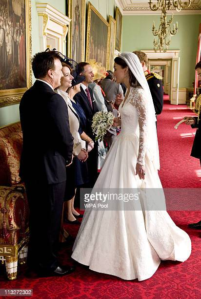 Catherine Duchess of Cambridge Prime Minister of Australia Julia Gillard and Tim Matheison at Buckingham Palace after her wedding to Prince William...