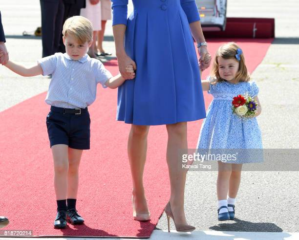 Catherine Duchess of Cambridge Prince George and Princess Charlotte arrive at Berlin's Tegel Airport during an official visit to Poland and Germany...